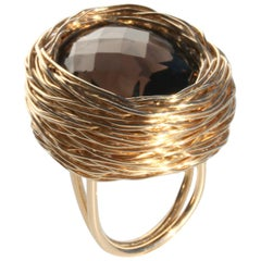 Chequerboard Smoky Quartz in Gold Statement Cocktail Ring by Sheila Westera