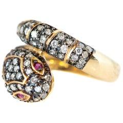 1.18 Carat Total Diamond and Pink Sapphires Serpent Ring in 14 Karat Yellow Gold