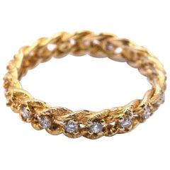 14 Karat Yellow Gold Diamond Rope Band