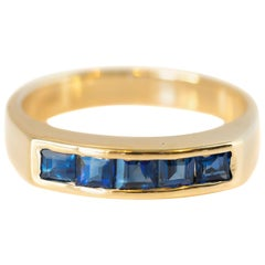 0.50 Carat Blue Sapphire 14 Karat Yellow Gold Band Ring