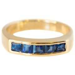 0,50 Karat blauen Saphir 14 Karat Gelb Gold Bandring