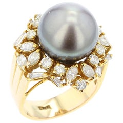 Gray Tahitian Cultured Pearl and Diamond Ring, 14 Karat Yellow Gold