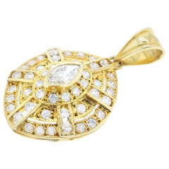 Curved Diamond and Yellow Gold Pendant, 14 Karat, Part of Earring Set