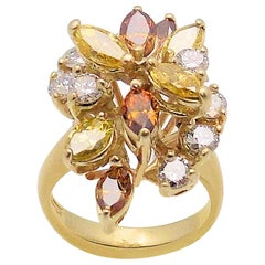 14 Karat Yellow Gold Canary and Cognac Diamond Cocktail Ring