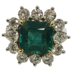 Emerald and Diamond Cocktail Ring