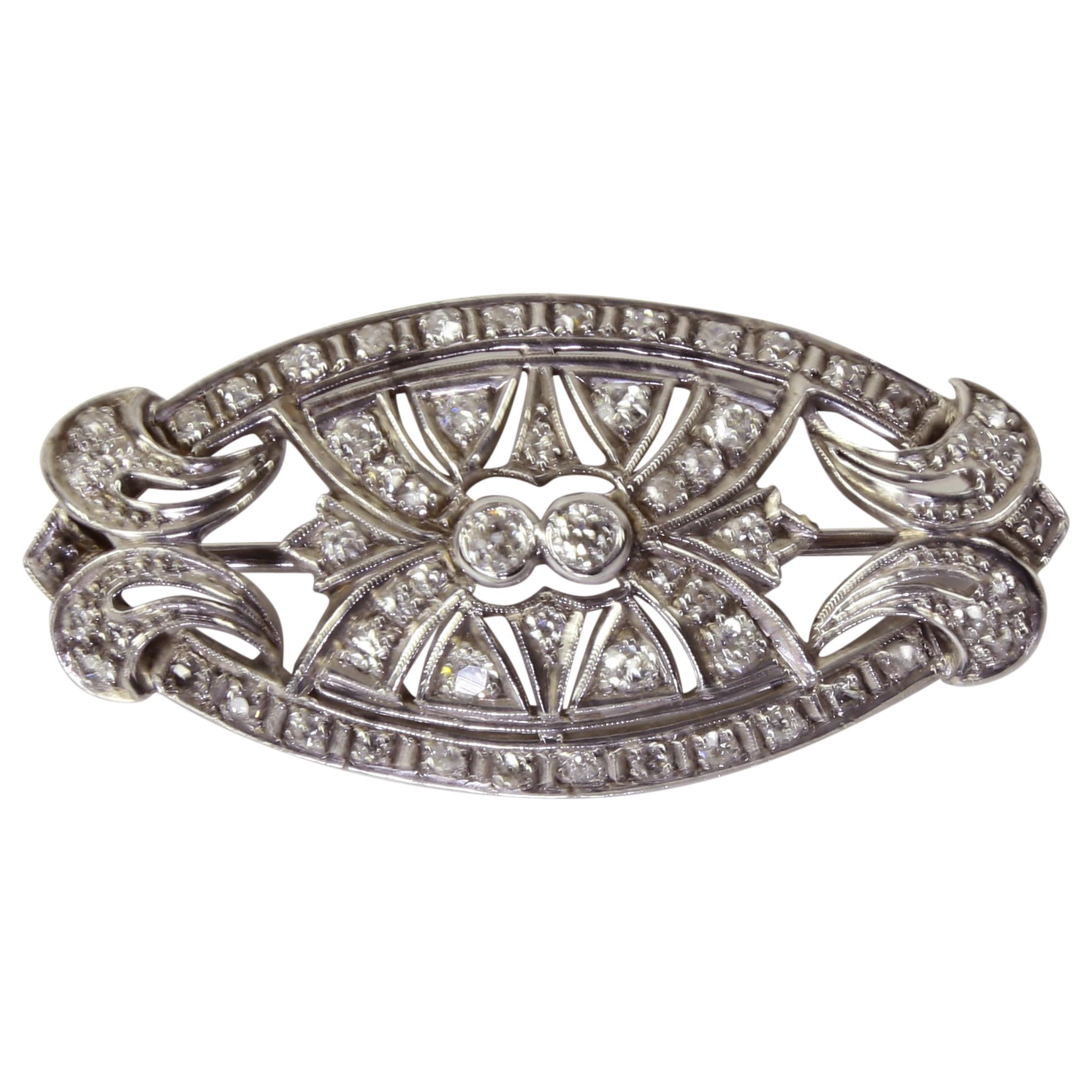 Antique Edwardian Diamond Platinum Pendant Brooch Pin Estate Fine Jewelry