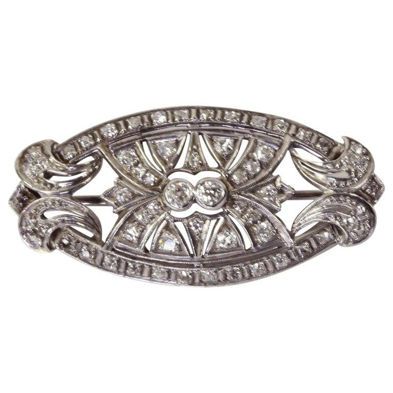 Antique Edwardian Diamond Platinum Pendant Brooch Pin Estate Fine Jewelry For Sale