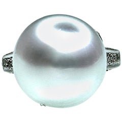 Button Australian Cultured Pearl and Diamond Ring