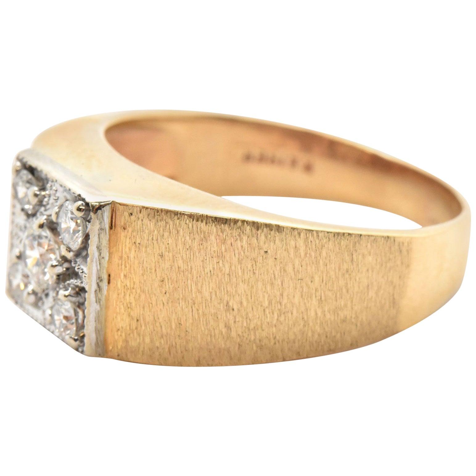 10c5d1f499a10 Men's La Kaiser 14 Karat Yellow Gold and Round Brilliant Diamond Ring