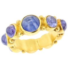 Blue Sapphire Cabochon Eternity Style Ring, 18 Karat Yellow Gold