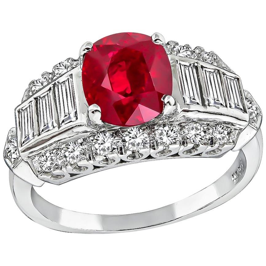 GIA Certified 2.11 Carat Ruby Diamond Engagement Ring