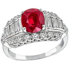 GIA Certified 2.11 Carat Ruby Diamond Engagement Ring