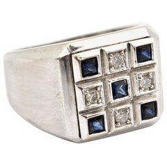 Men's 14 Karat White Gold, Diamond and Sapphire Checkered Ring