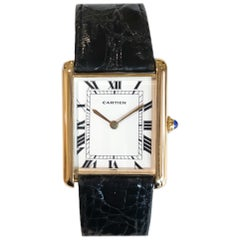 Rare Extra Large Louis Cartier Tank Watch Automatic 18 Karat Yellow Gold