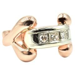 Vintage 14 Karat Rose Gold 0.25 Carat Diamond Fashion Ring