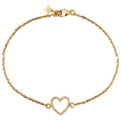 Solid 18Karat Yellow Gold Diamond Heart Chain Bracelet Bangle