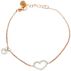 18 Karat Gold Charm Chain Diamond Heart Bracelet Bangle