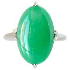 1920s 3 Carat Jade Ring in Platinum and 18 Karat White Gold
