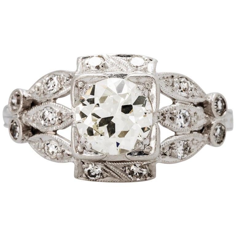 Art Deco Platinum 0.88 Carat Diamond Engagement Ring For Sale