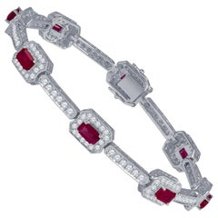 4.82 Carat Total Weight Emerald Cut Rubies Bracelet with 2.21 Carat Diamonds