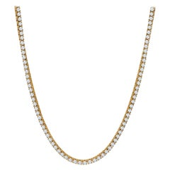 23.97 Carat Total Weight Round Brilliant Diamond Necklace in 14 Karat Gold