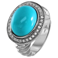 Oval Turquoise and Diamond Ring Pave Set of 14 Karat White Gold Cocktail Fashion
