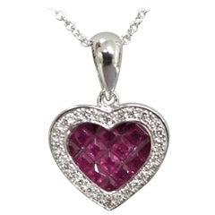 Ruby and Diamond Heart in 14 Karat White Gold