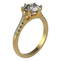 Kian Design Gelbgold 1,48 Karat Alteuropäischer Schliff Moissanite Ring