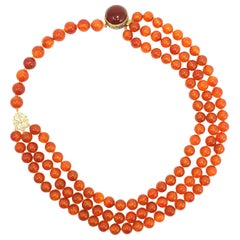 Carnelian Bead Knotted String Triple Strand Necklace, 14 Karat Clasp