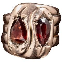Antique Edwardian Flat Cut Garnet Snake Ring 9 Carat Gold Dated Chester 1912