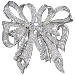 Antique French Edwardian 15 Carat Diamond Double Clip Brooch Platinum circa 1915