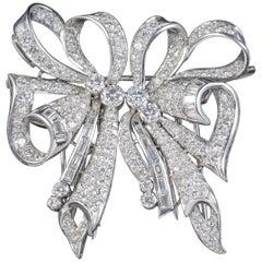 Antique French Edwardian 15 Carat Diamond Platinum circa 1915 Double Clip Brooch