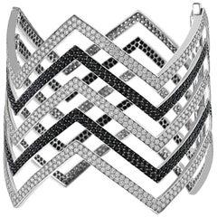 18 Carat Black and White Diamond Chevron Cuff  in 18K White Gold