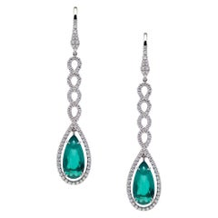 Certified Natural Colombian Emeralds 3.97 Carats Platinum Earrings