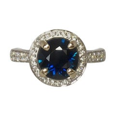 Australian 2 Carat Round Cut Blue Sapphire and Diamond 18 Karat Gold Halo Ring