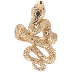 Rubies and 18 Karat Gold Snake Ring
