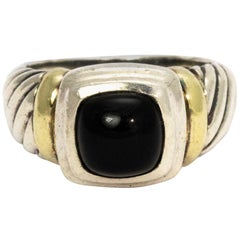 David Yurman Onyx Silver and 14 Karat Gold Ring