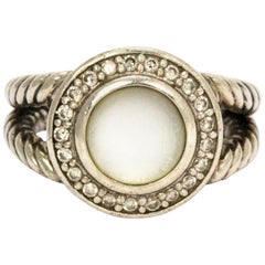 David Yurman Diamond Mother of Pearl Silver Cable Ring