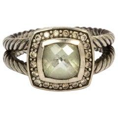 David Yurman Prasiolite Diamond and Silver Cable Band Ring