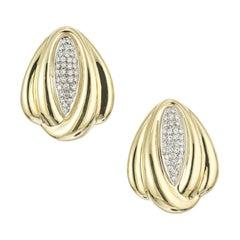 Italian Diamond Gold Swirl Clip Post Earrings