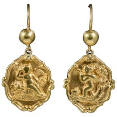 Antique Victorian 18 Carat Gold Cherub Drop Earrings, circa 1900