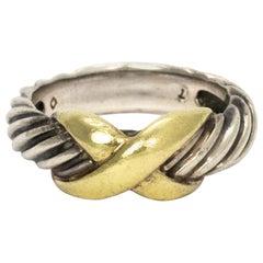 David Yurman Silver 14 Karat Yellow Gold Classic Cross Ring