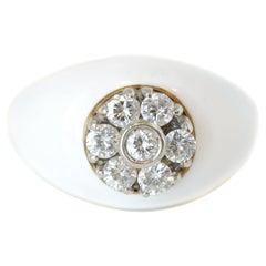 White Enamel and 0.70 Carat Diamond 18 Karat Yellow Gold Band Ring