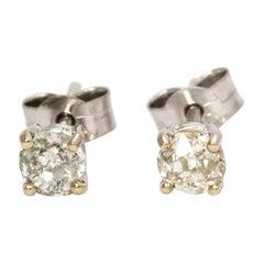 Diamond Stud Earrings 0.70 Total Carat Weight Set in 18 Carat White Gold