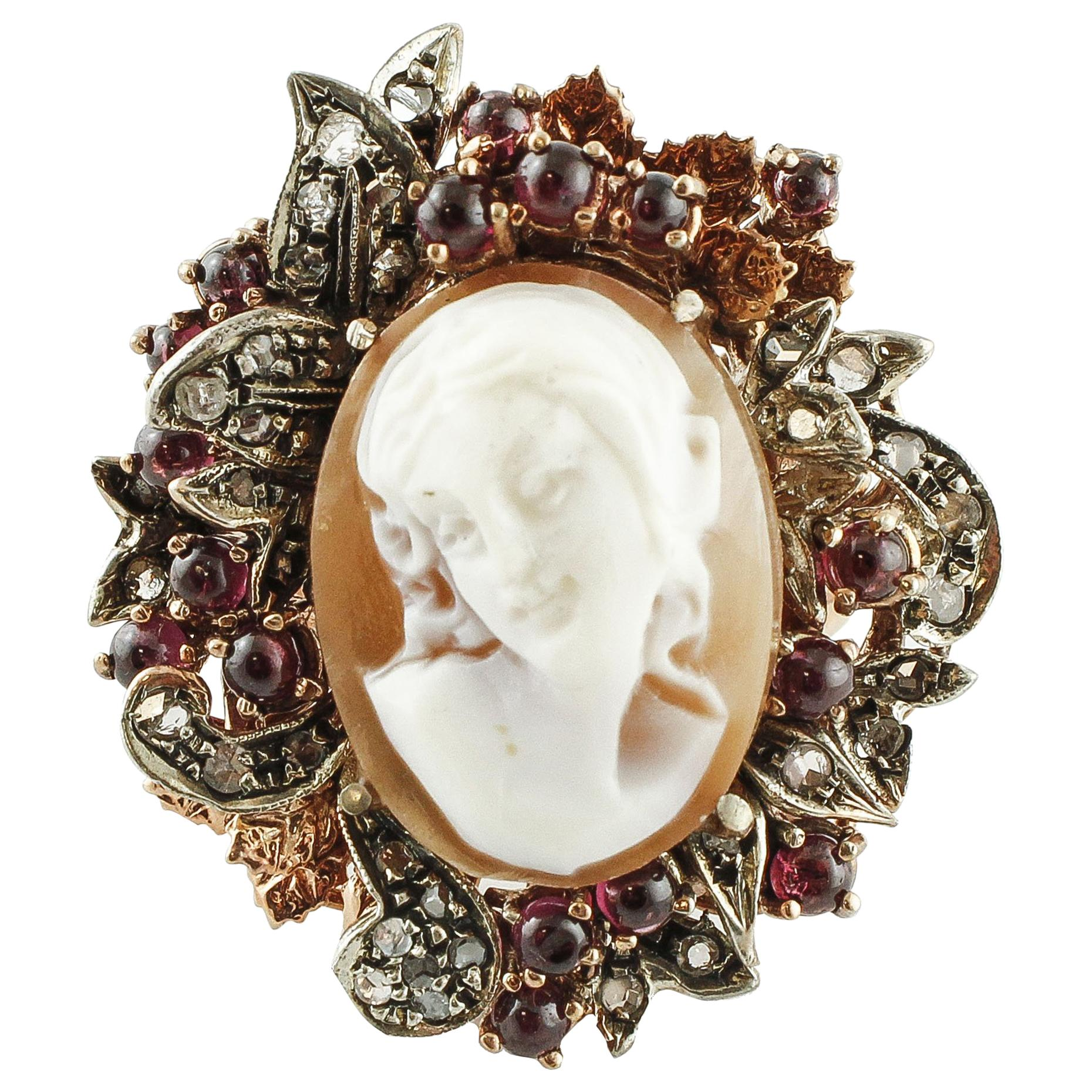 Cameo Garnet Diamond Rose Gold and Silver Ring