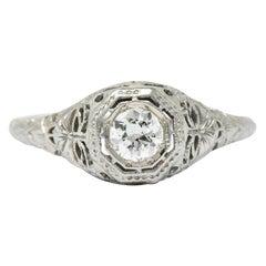 1930s 0.35 Carat Diamond 14 Karat White Gold Engagement Ring