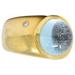 H. Stern Contemporary 7.03 Carat Aquamarine Diamond 18 Karat Gold Ring