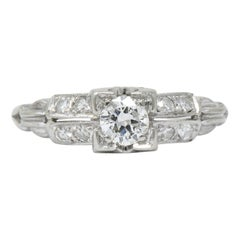 Jabel Retro 0.40 Carat Diamond 18 Karat White Gold Engagement Ring