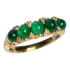 Cabochon Emerald and Diamond 18 Karat Yellow Gold Ring