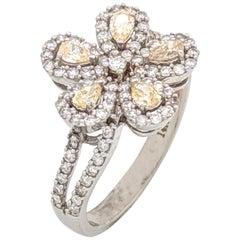 14 Karat White Gold 1.25 Carat White and Fancy Yellow Diamond Flower Ring